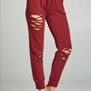 Pants - Burgundy Distressed French Terry Joggers
